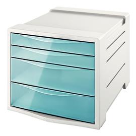 Schubladenboxen Colour'Ice 4 Schübe 285x245x365mm transparent blau Kunstoff Esselte 626284 Produktbild