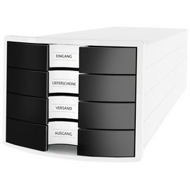 Schubladenbox IMPULS 4 Schübe geschlossen 294x235x368mm Gehäuse weiß Schübe schwarz HAN 1012-32 Produktbild