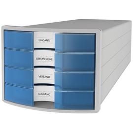 Schubladenbox IMPULS 4 Schübe geschlossen 294x235x368mm Gehäuse lichtgrau Schübe transluzent-blau Produktbild