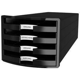 Schubladenbox IMPULS 4 Schübe offen 294x235x368mm Gehäuse schwarz Schübe schwarz HAN 1013-13 Produktbild