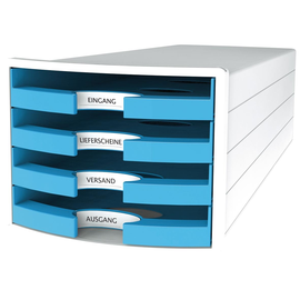 Schubladenbox IMPULS 4 Schübe offen 294x235x368mm Gehäuse weiß Schübe Trend hellblau HAN 1013-54 Produktbild