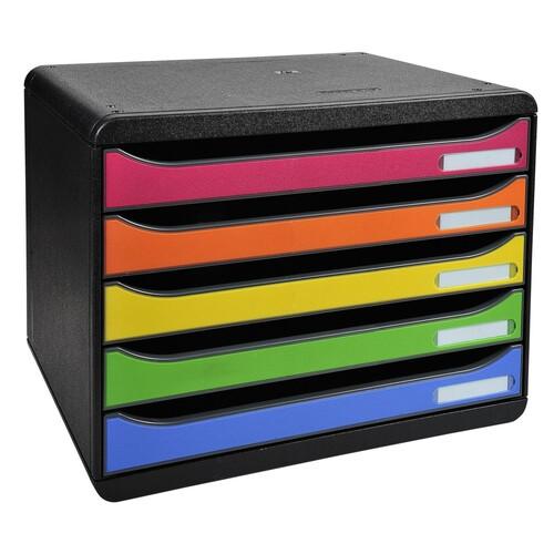 Schubladenbox big-box plus quer 5 Schübe offen 27x35,5x27,1cm classic harlekin Exacompta 308798D Produktbild Front View L