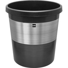 Papierkorb pureElegance 18l schwarz mit Edelstahlring Helit H6107300 Produktbild