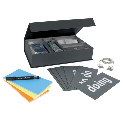 Kanban Toolkit für Scum-Meetings Board Eraser + Spray + Stifte + Magnete + Karten + Static Notes Sigel GL731 Produktbild Front View L