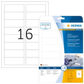 Namens-Etiketten Laser+Kopier 88,9x33,8mm auf A4 Bögen weiß gut ablösbar Acetatseide Herma 4515 (PACK=320 STÜCK) Produktbild