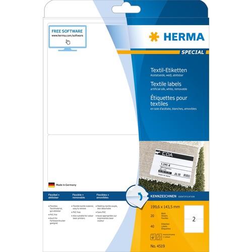 Namens-Etiketten Laser+Kopier 199,6x143,5mm auf A4 Bögen weiß gut ablösbar Acetatseide Herma 4519 (PACK=40 STÜCK) Produktbild Additional View 1 L