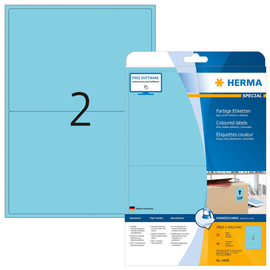 Etiketten InkJet+Laser+Kopier 199,6x143,5mm auf A4 Bögen matt blau ablösbar Herma 4498 (PACK=40 STÜCK) Produktbild