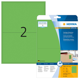 Etiketten InkJet+Laser+Kopier 199,6x143,5mm auf A4 Bögen matt grün ablösbar Herma 4499 (PACK=40 STÜCK) Produktbild