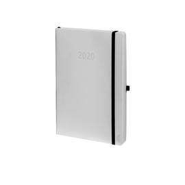 Buchkalender Chronobook 2020 A5 1Tag/1Seite weiß Leinenprägung Softcover Chronoplan 50950 Produktbild