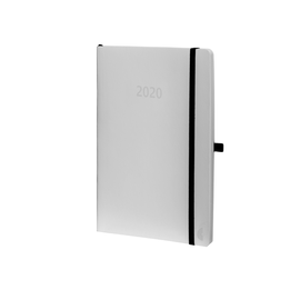 Buchkalender Chronobook 2020 A5 1Woche/2Seiten weiß Leinenprägung Softcover Chronoplan 50930 Produktbild