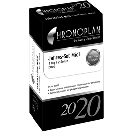 Jahres-Set mit Tagesplan 2020 für Organizer Midi 96x172mm 1Tag/2Seiten Chronoplan 50530 Produktbild