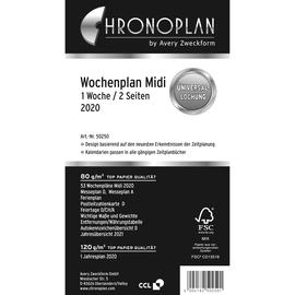 Wochenplan 2020 für Organizer Midi 96x172mm 1Woche/2Seiten horizontal Zeilen Chronoplan 50250 Produktbild
