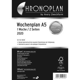 Wochenplan 2020 für Organizer A5 148x210mm 1Woche/2Seiten horizontal Spalten Chronoplan 50230 Produktbild