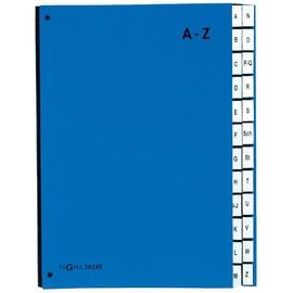Pultordner 24 Fächer A-Z Sichtlöcher dehnbarer Leinenrücken blau Pappe Pagna 24249-01 Produktbild