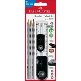 Bleistiftset Schulset/School Set Sleeve 3xBleistift+Radierer+Dosenspitzer+Lineal schwarz Faber Castell 217069 (PACK= 3 BLEISTIFTE + 1 RADIERER + 1 DOSENSPITZER + 1 LINEAL) Produktbild