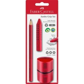 Bleistiftset JUMBO GRIP Bleistift+Radierer+Dosenspitzer rot Faber Castell 580021 (PACK= 1 BLEISTIFT + 1 RADIERER + 1 DOSENSPITZER) Produktbild