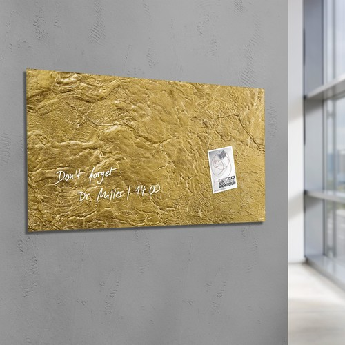 Glas-Magnetboard artverum 910x460x15mm Design Metallic-Gold inkl. Magnete Sigel GL266 Produktbild Additional View 5 L