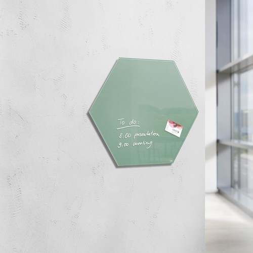Glas-Magnetboard artverum 400x460x15mm Sechseck Smoky-Green inkl. Magnete Sigel GL281 Produktbild Additional View 6 L