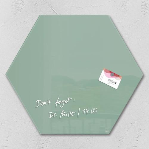 Glas-Magnetboard artverum 400x460x15mm Sechseck Smoky-Green inkl. Magnete Sigel GL281 Produktbild