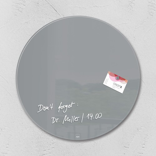 Glas-Magnetboard artverum Ø400mm Kreis Smoky-Grey inkl. Magnete Sigel GL290 Produktbild
