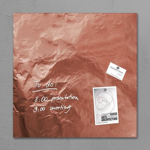 Glas-Magnetboard artverum 480x480x15mm Design Pure-Copper inkl. Magnete Sigel GL265 Produktbild