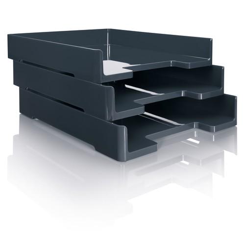 Briefablage eyestyle A4 268x50x333mm dunkelgrau/schwarz High-Gloss ABS- Kunststoff Sigel SA167 Produktbild Additional View 3 L