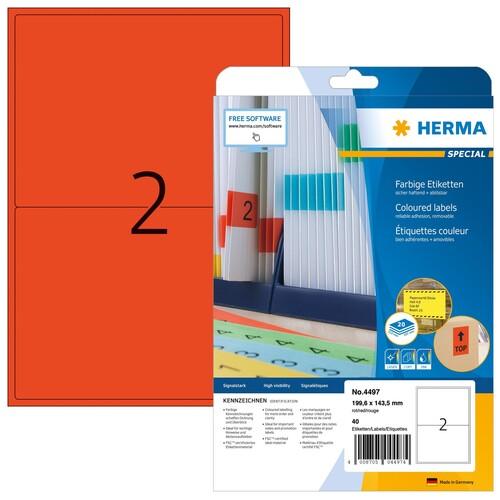 Etiketten InkJet+Laser+Kopier 199,6x143,5mm auf A4 Bögen matt rot ablösbar Herma 4497 (PACK=40 STÜCK) Produktbild