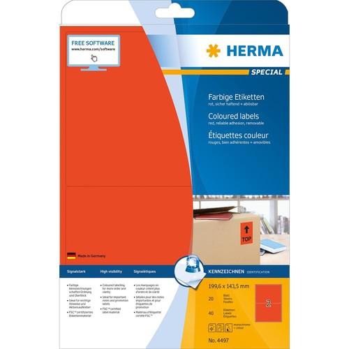 Etiketten InkJet+Laser+Kopier 199,6x143,5mm auf A4 Bögen matt rot ablösbar Herma 4497 (PACK=40 STÜCK) Produktbild Additional View 1 L