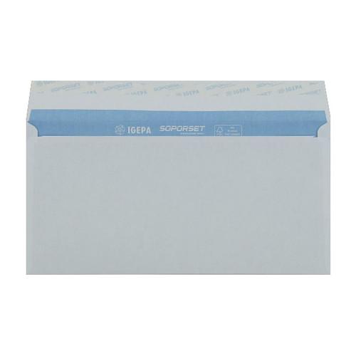 Briefumschlag SOPORSET ohne Fenster DIN lang 110x220mm mit Haftklebung 80g weiß mit blauem Innendruck (PACK=1000 STÜCK) Produktbild Additional View 1 L