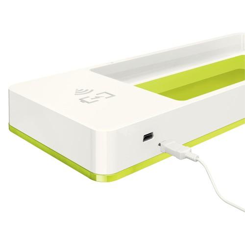 Stifteschale WOW Duo Colour mit Induktionsladegerät weiß/grün metallic Leitz 5365-10-64 Produktbild Additional View 2 L