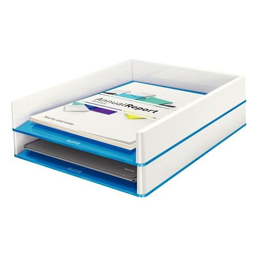 Briefkorb WOW Duo Colour für A4 267x49x336mm weiß/blau metallic Kunststoff Leitz 5361-10-36 Produktbild Additional View 1 L