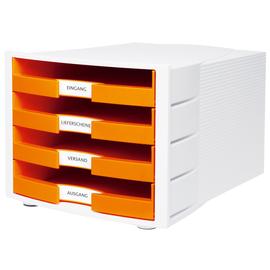 Schubladenbox IMPULS 4 Schübe offen 294x235x368mm Gehäuse weiß Schübe Trendcolour orange HAN 1011-X-51 Produktbild