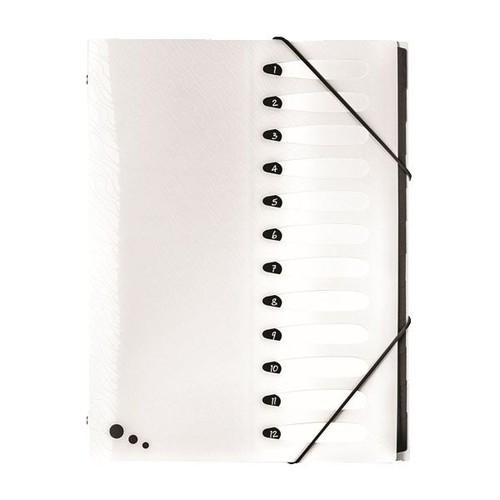 Ordnungsmappe Art STUDIO mit mit Gummizug A4 mit 12 Fächern weiß PP Elba 400068818 Produktbild Front View L