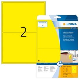Etiketten Inkjet+Laser+Kopier 199,6x143,5mm auf A4 Bögen gelb matt ablösbar Herma 4496 (PACK=40 STÜCK) Produktbild