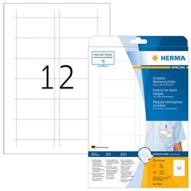 Namens-Einsteckschilder Inkjet+Laser+Kopier 75x40mm auf A4 Bögen weiß Herma 9010 (PACK=300 STÜCK) Produktbild