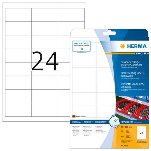 Folien-Etiketten Laser+Kopier 66,0x33,8mm A4 wetterfest+alterungs- beständig weiß ablösbar Herma 4573 (PACK=480 STÜCK) Produktbild
