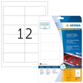 Folien-Etiketten Laser+Kopier 97,0x42,3mm A4 wetterfest+alterungs- beständig weiß ablösbar Herma 4574 (PACK=240 STÜCK) Produktbild