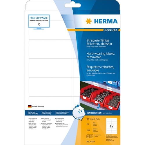 Folien-Etiketten Laser+Kopier 97,0x42,3mm A4 wetterfest+alterungs- beständig weiß ablösbar Herma 4574 (PACK=240 STÜCK) Produktbild Additional View 1 L