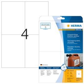 Folien-Etiketten Laser+Kopier 105,0x148,0mm A4 wetterfest+alterungs- beständig weiß ablösbar Herma 4576 (PACK=80 STÜCK) Produktbild