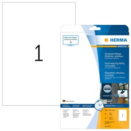 Folien-Etiketten Laser+Kopier 210,0x297,0mm A4 wetterfest+alterungs- beständig weiß ablösbar Herma 4577 (PACK=20 STÜCK) Produktbild