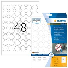 Folien-Etiketten Laser+Kopier ø30mm A4 wetterfest+alterungsbeständig weiß ablösbar Herma 4571 (PACK=960 STÜCK) Produktbild