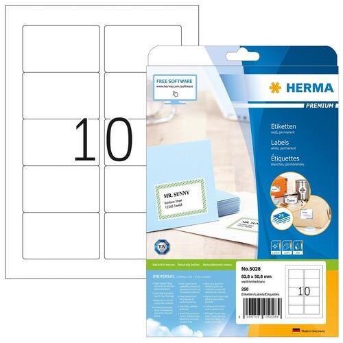 Etiketten PREMIUM Inkjet+Laser+Kopier 83,8x50,8mm auf A4 Bögen weiß permanent Herma 5028 (PACK=250 STÜCK) Produktbild
