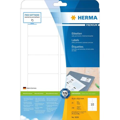 Etiketten PREMIUM Inkjet+Laser+Kopier 83,8x50,8mm auf A4 Bögen weiß permanent Herma 5028 (PACK=250 STÜCK) Produktbild Additional View 1 L