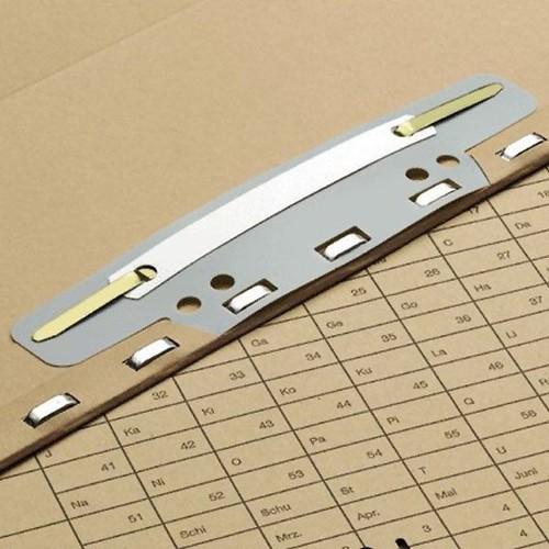 Einhänge-Heftstreifen kurz mit Kunststoff-Deckschiene 150x37mm grau PVC Elba 100551905 (PACK=25 STÜCK) Produktbild Front View L