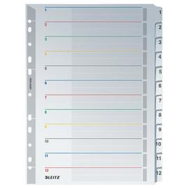 Register A4 238x297mm Zahlen 1-12 wiederbeschreibbar grau Karton Leitz 4332-00-00 Produktbild