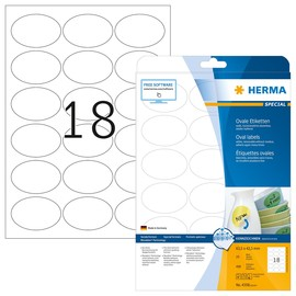 Etiketten Inkjet+Laser+Kopier 63,5x42,3mm auf A4 Bögen Movables weiß wiederablösbar Herma 4358 (PACK=450 STÜCK) Produktbild