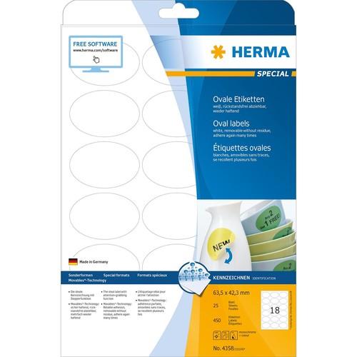 Etiketten Inkjet+Laser+Kopier 63,5x42,3mm auf A4 Bögen Movables weiß wiederablösbar Herma 4358 (PACK=450 STÜCK) Produktbild Additional View 1 L