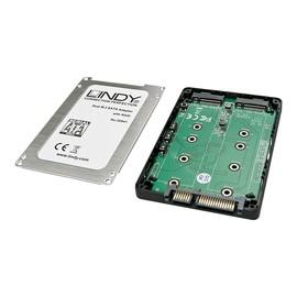 "Lindy Dual M.2 SSD RAID Case, SATA 2,5"" - Speicher-Controller - 2 Sender/Kanal - M.2 Card - 6 GBps - RAID 0, 1, JBOD, BIG Produktbild"