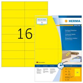 Etiketten Ink Jet+Laser+Kopier 105x37mm auf A4 Bögen gelb permanent Herma 4256 (PACK=1600 STÜCK) Produktbild