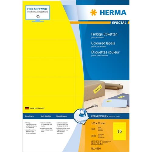 Etiketten Ink Jet+Laser+Kopier 105x37mm auf A4 Bögen gelb permanent Herma 4256 (PACK=1600 STÜCK) Produktbild Additional View 1 L